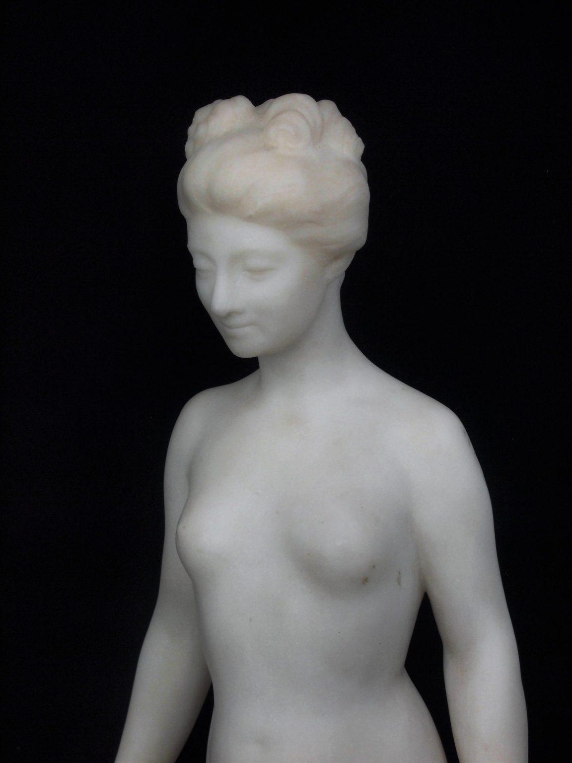 An Italian 19th Century Carved Carrara Marble Figure of a