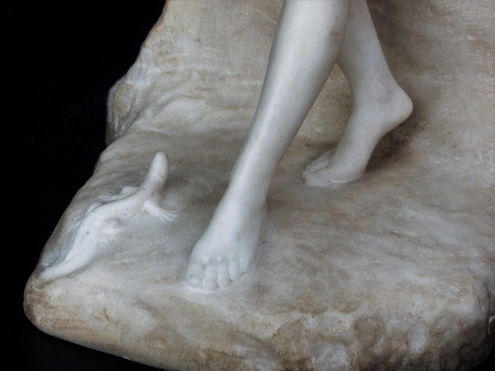 Lot - J. Langford Signed Carrara Marble Nude Sculpture